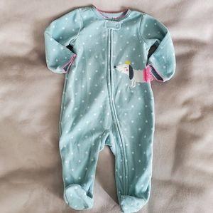 Carter's Green Fleece Zippered Footed Pajama 6M